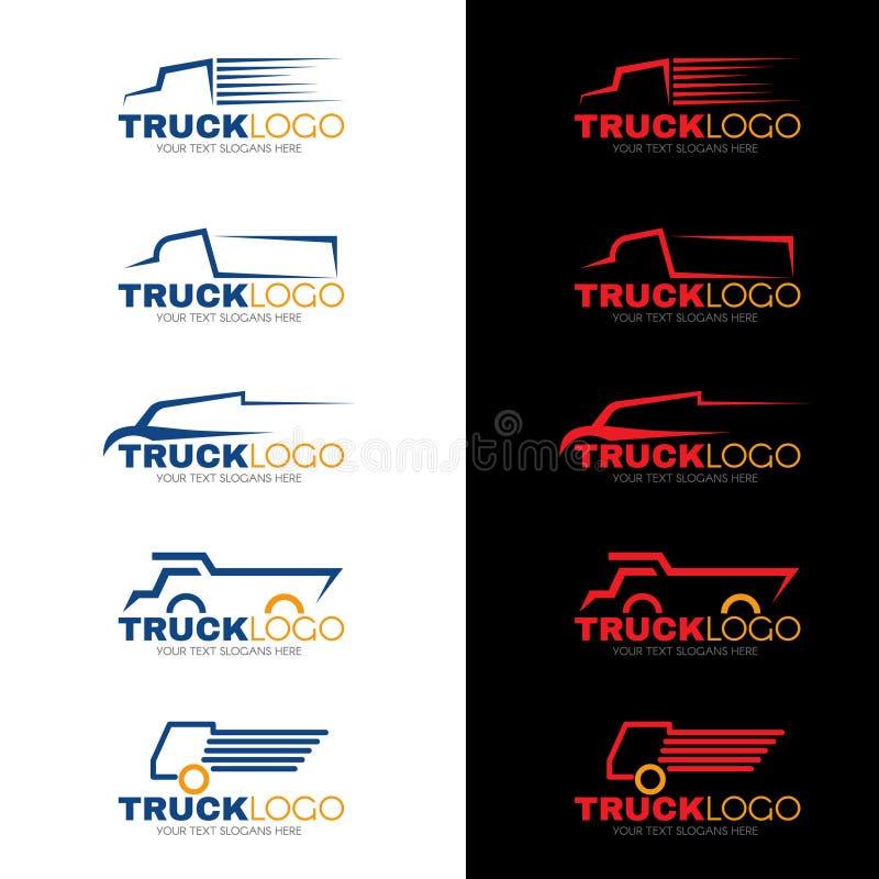 o vetor do logotipo do caminhão do vermelho azul e do amarelo de 5 estilos projeta ilustração stock