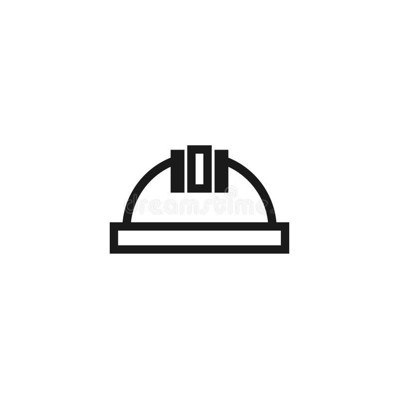 O vetor do molde do projeto gráfico do ícone do capacete da construção isolou-se ilustração stock
