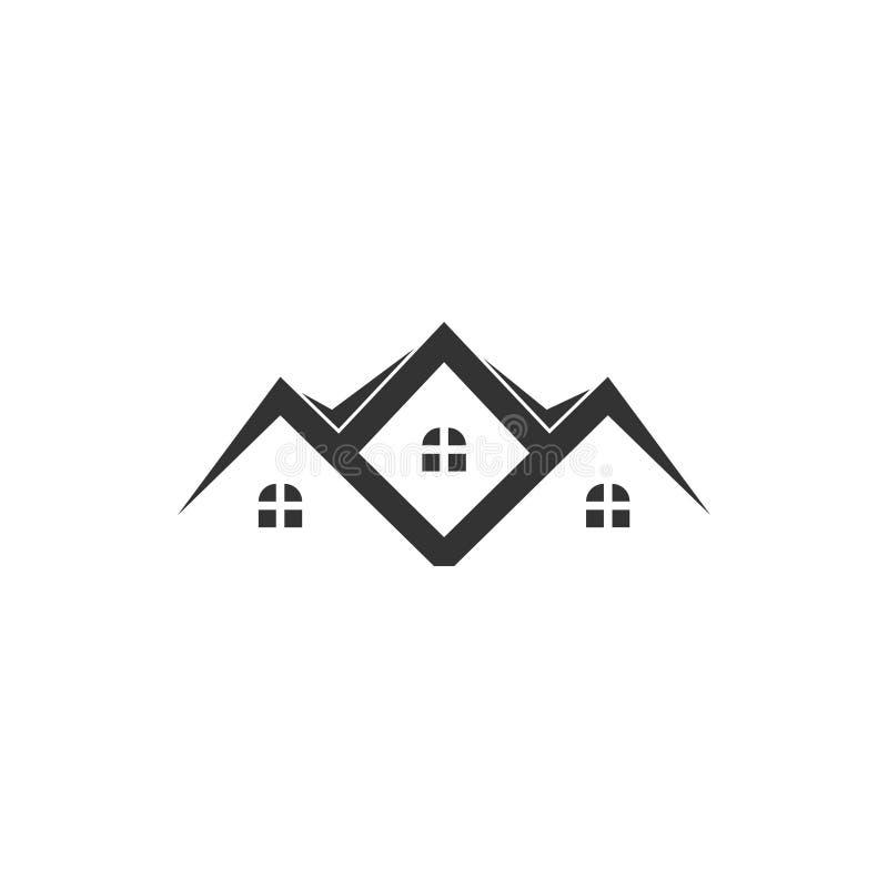 O vetor do molde do projeto gráfico do ícone da casa da residência isolou-se ilustração royalty free