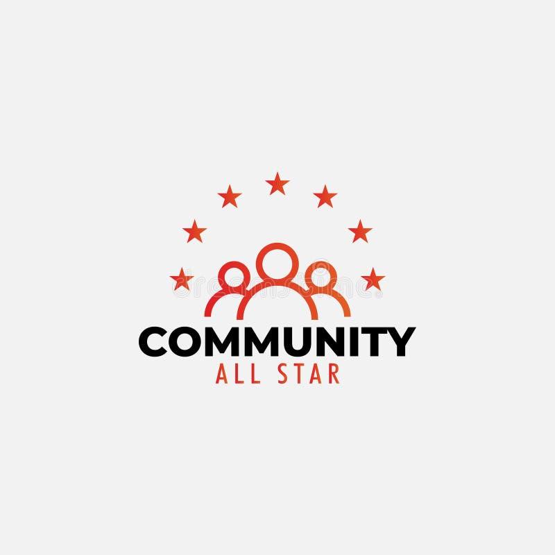 O vetor do molde do projeto do logotipo da comunidade isolou-se ilustração royalty free