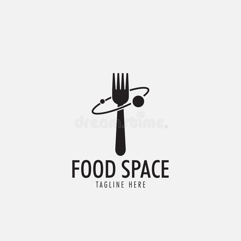 O vetor do molde do projeto do logotipo do espaço do alimento isolou-se ilustração stock