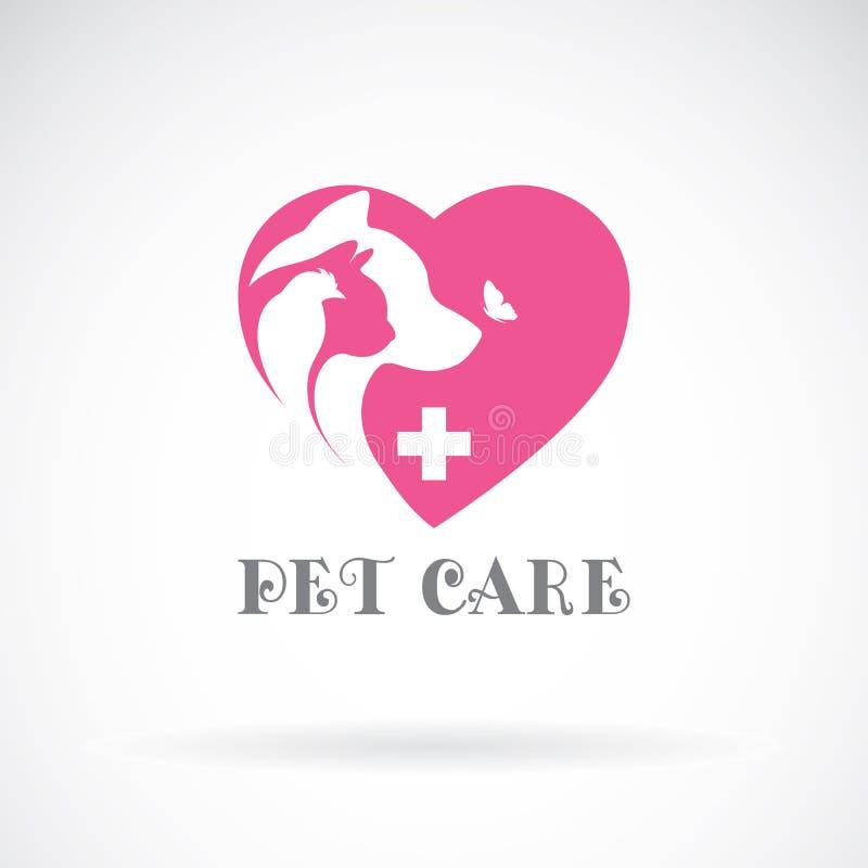 O vetor do pássaro, o gato, o cão e a borboleta no coração cor-de-rosa dão forma ilustração do vetor
