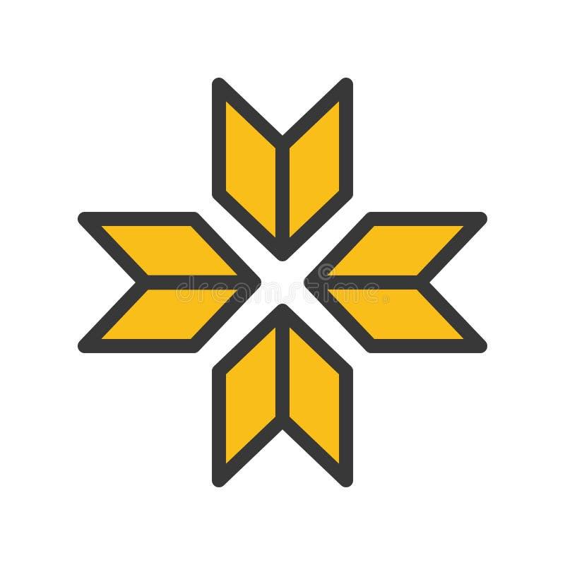 O vetor do símbolo do floco de neve, Chirstmas relacionou o ícone editável enchido do esboço do ícone do estilo ilustração stock