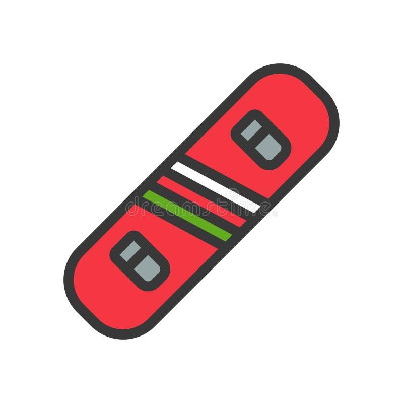 O vetor do Snowboard, Chirstmas relacionou o ícone editável enchido do esboço do ícone do estilo ilustração stock