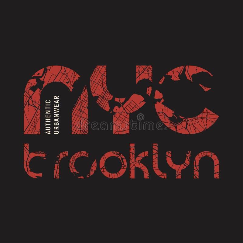 O vetor do t-shirt e do fato de New York Brooklyn projeta, imprime, erro tipográfico ilustração do vetor