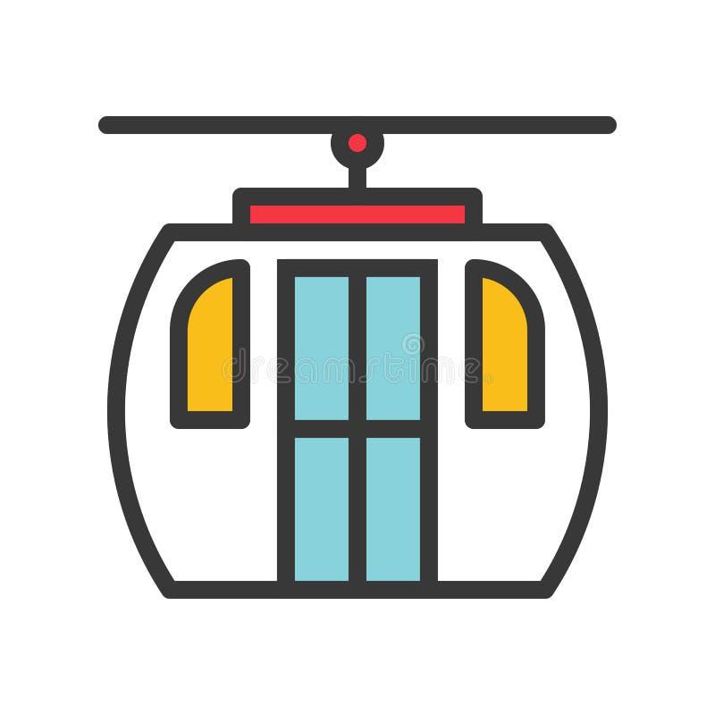 O vetor do teleférico, Chirstmas relacionou o ícone editável enchido do esboço do ícone do estilo ilustração do vetor