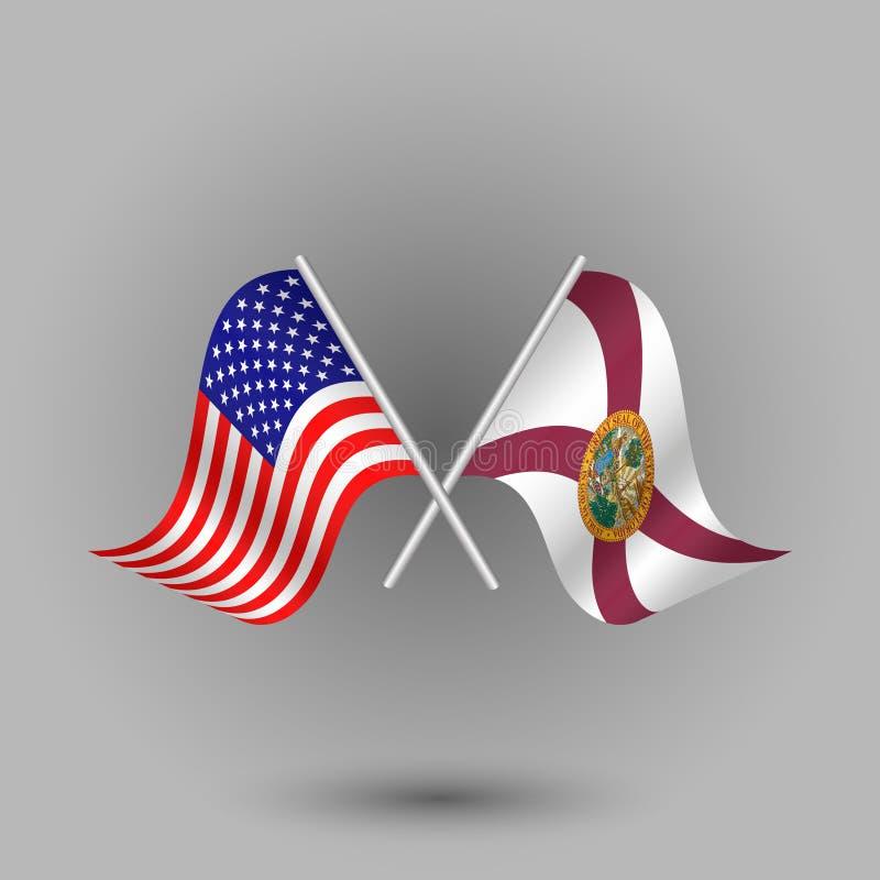 O vetor dois cruzou o americano e a bandeira de símbolos de florida de Estados Unidos da América EUA ilustração stock
