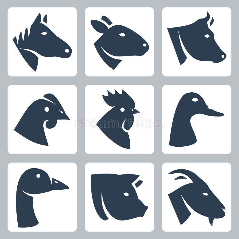 O vetor domesticou os ícones dos animais ajustados ilustração do vetor