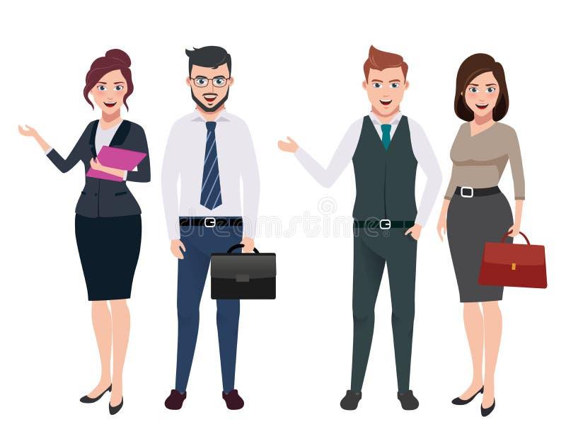 O vetor dos caráteres do negócio ajustou-se com as pessoas masculinas e fêmeas do negócio ilustração do vetor