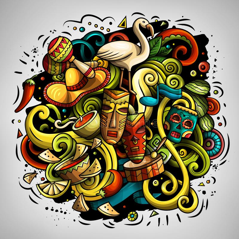 O vetor dos desenhos animados rabisca a ilustração da América Latina ilustração stock