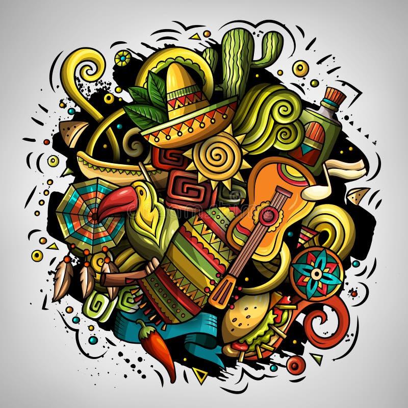 O vetor dos desenhos animados rabisca a ilustração da América Latina ilustração do vetor