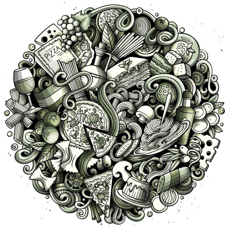 O vetor dos desenhos animados rabisca a ilustração redonda do alimento italiano ilustração do vetor