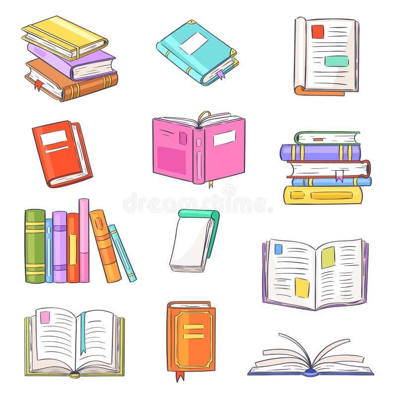 O vetor dos livros abriu o história-livro e o caderno do diário em estantes no grupo da ilustração da biblioteca ou da livraria d ilustração do vetor