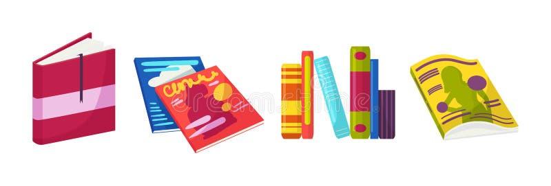 O vetor dos livros abriu o hist?ria-livro e o caderno do di?rio em estantes no grupo da ilustra??o da biblioteca ou da livraria d ilustração stock