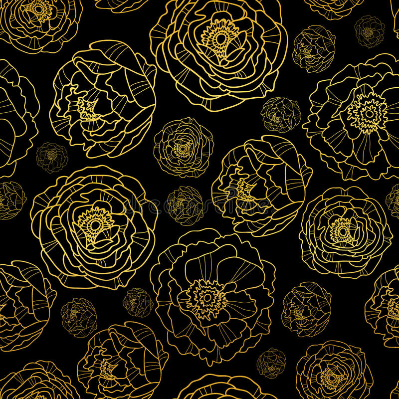 O vetor dourado na peônia preta floresce o fundo sem emenda do teste padrão do verão Grande para a tela elegante da textura do ou ilustração do vetor