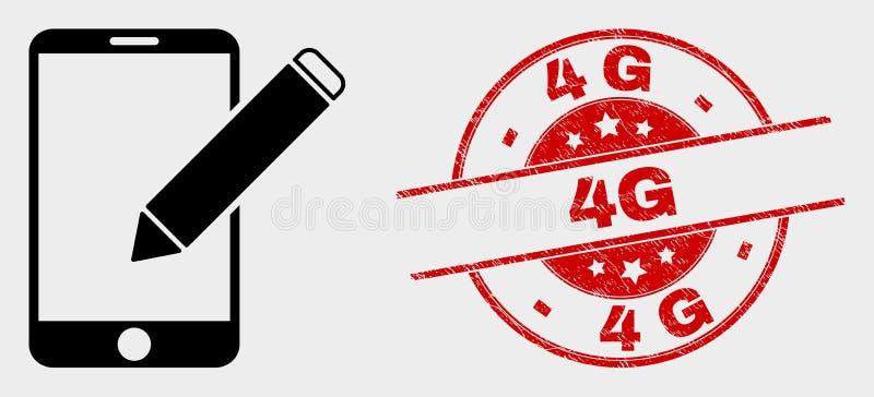O vetor edita o ícone dos registros do telefone e o selo do Grunge 4G ilustração do vetor