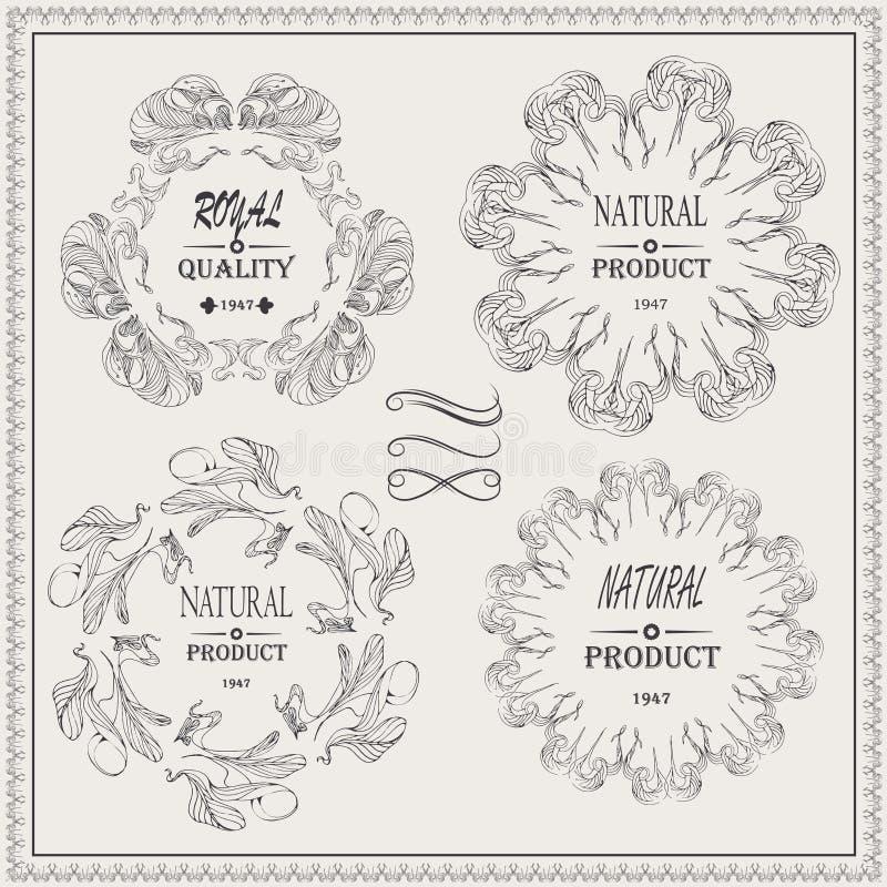 O vetor elegante molda a etiqueta real da qualidade do produto natural ilustração do vetor