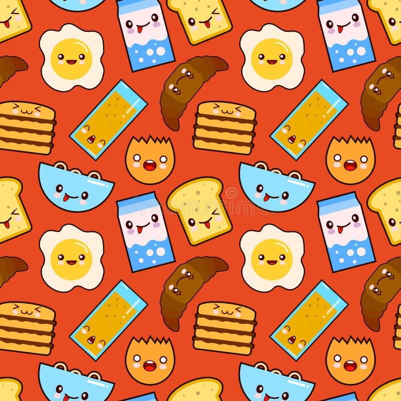 O vetor engraçado do café da manhã dos caráteres do teste padrão sem emenda do vetor do divertimento brinda o pão, o leite, o ali ilustração royalty free
