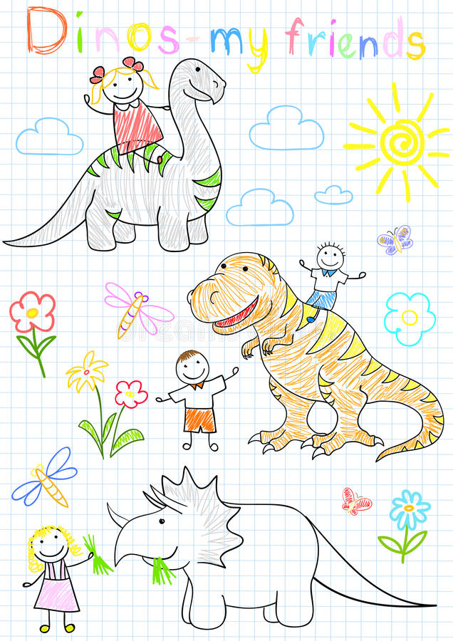 O vetor esboça crianças e dinossauros felizes ilustração royalty free