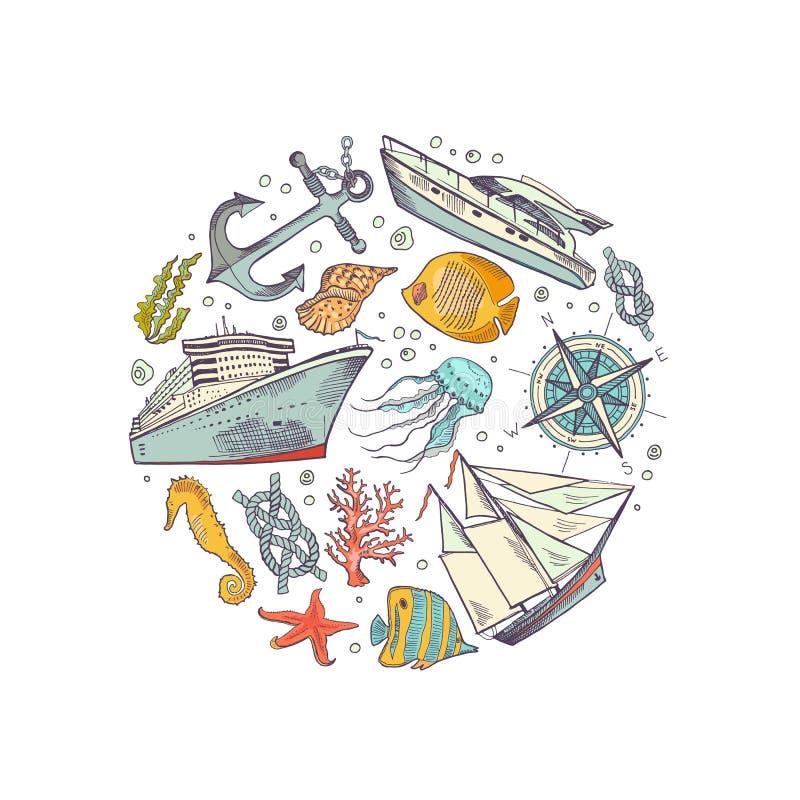 O vetor esboçou a ilustração do conceito do círculo dos elementos do mar ilustração royalty free