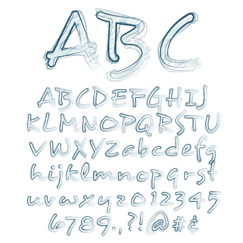 O vetor esboçou o alfabeto ilustração stock