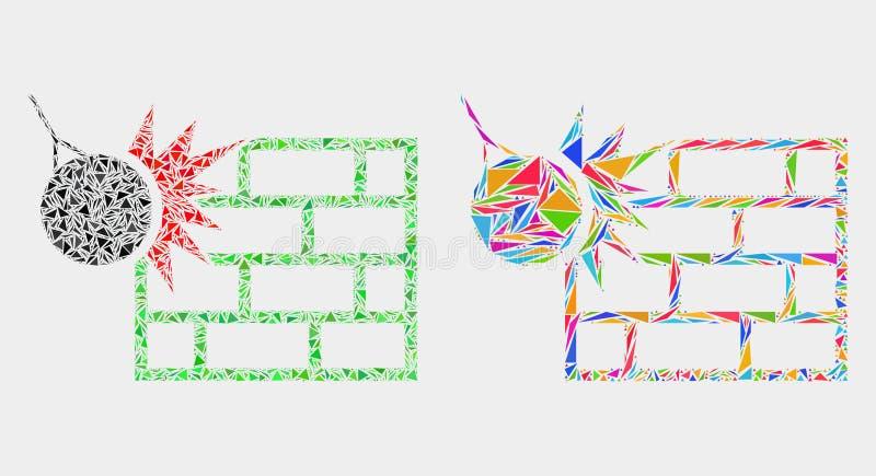 O vetor esmaga o ícone do mosaico da parede de artigos do triângulo ilustração royalty free