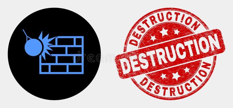 O vetor esmaga o selo da destruição do ícone e do Grunge da parede ilustração stock