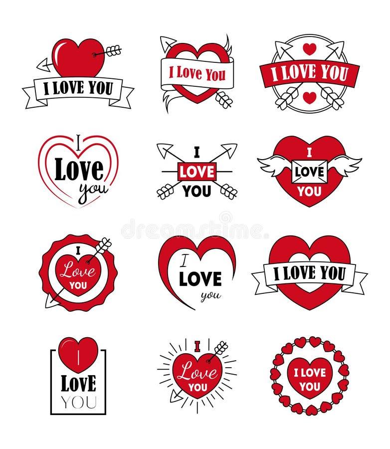 O vetor etiqueta eu te amo o crachá ajustado como a tipografia do logotype e do ícone para o dia de Valentim ilustração royalty free