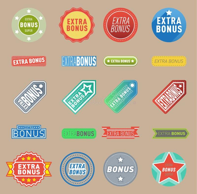 O vetor extra super do bônus etiqueta o conceito da compra do negócio da cor de texto das bandeiras Bônus extra de compra da prom ilustração do vetor