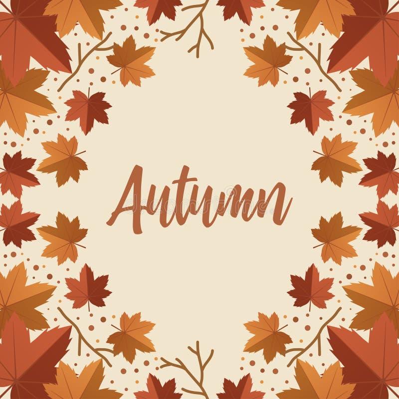 O vetor feliz do outono com folhas secas coloca horizontalmente no fundo, vista superior, copyspace, rotulando a palavra imagens de stock royalty free