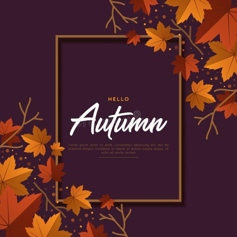 O vetor feliz do outono com folhas secas coloca horizontalmente no fundo, vista superior, copyspace, rotulando a palavra imagens de stock