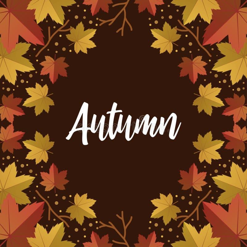 O vetor feliz do outono com folhas secas coloca horizontalmente no fundo, vista superior, copyspace, rotulando a palavra fotos de stock