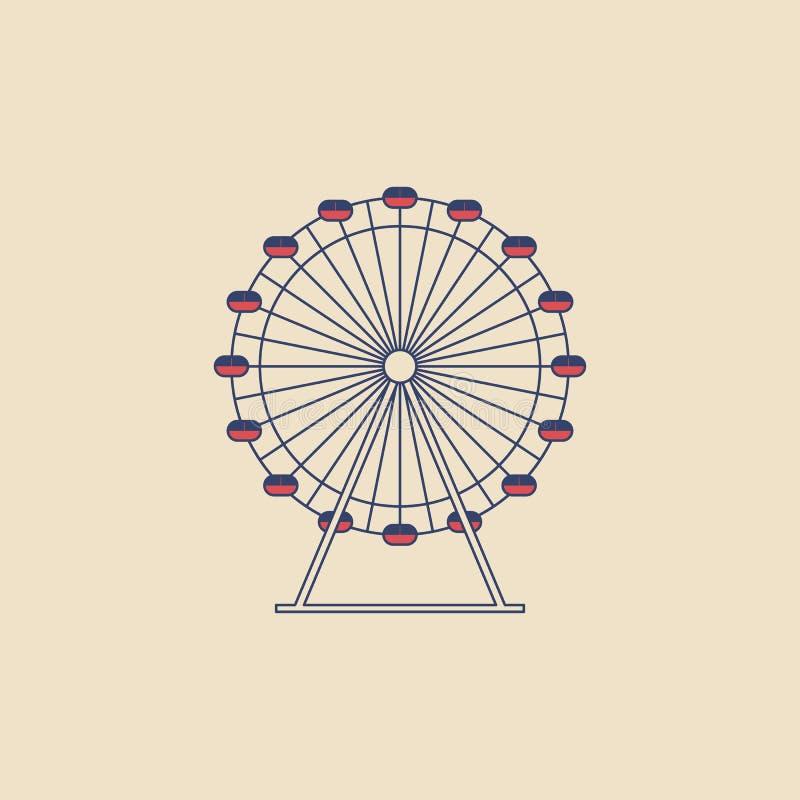 O vetor Ferris roda dentro o estilo liso moderno no fundo claro Cartaz com roda de Ferris ilustração stock