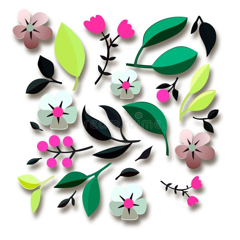 O vetor floresce o elemento sem emenda do teste padrão Textura elegante para fundos elementos 3D com sombras e destaques Flores d ilustração stock