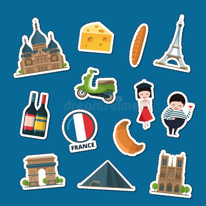 O vetor França observa etiquetas ilustração royalty free