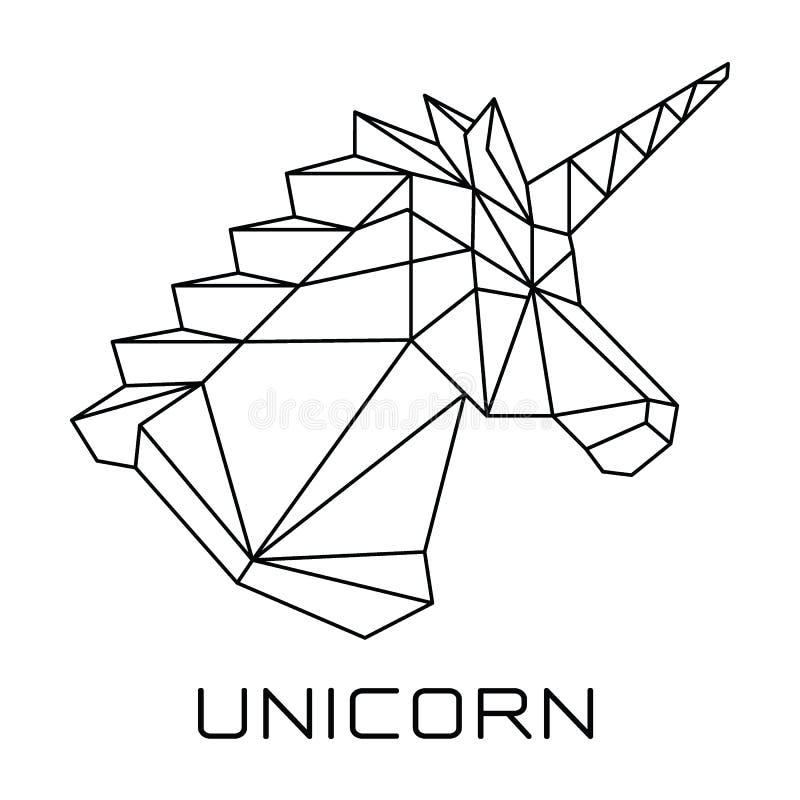 O vetor geométrico poligonal principal do unicórnio ilustração stock