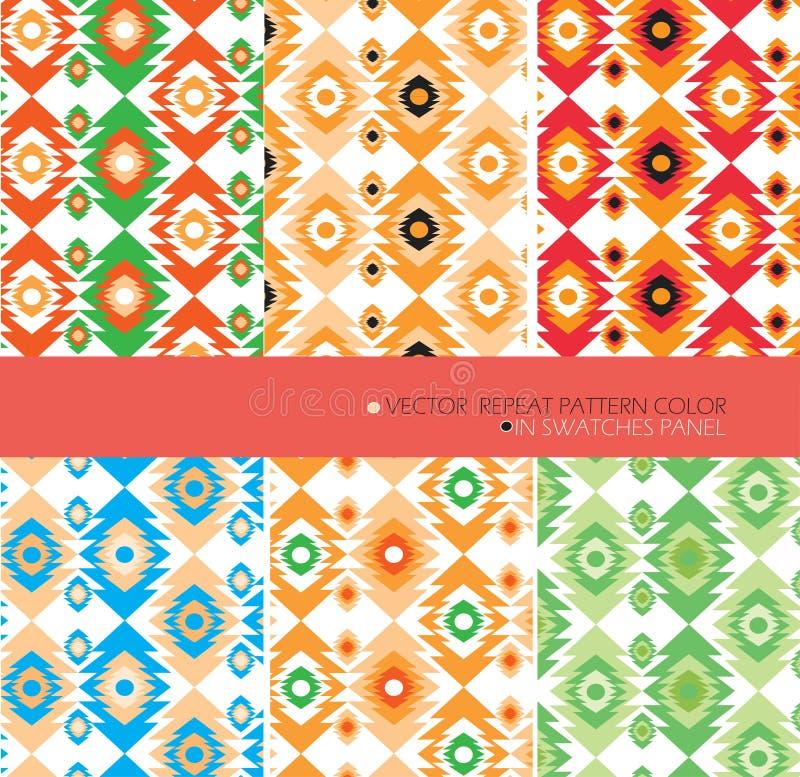 O vetor gráfico moderno do teste padrão da repetição ajustou o fundo do asteca de 6 cores fotos de stock