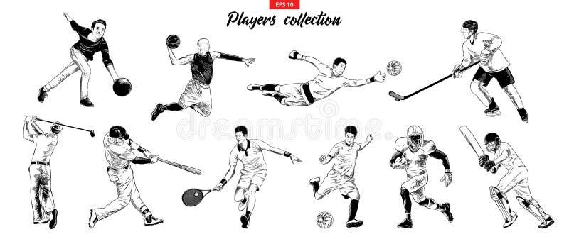 O vetor gravou ilustrações do estilo para cartazes, logotipo, emblema e crachá Grupo tirado mão do esboço de jogadores do esporte ilustração stock
