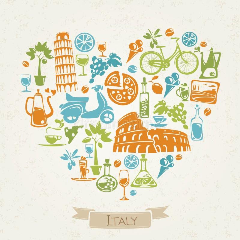 O vetor I ama o projeto de Itália com símbolos da cultura italiana ilustração stock