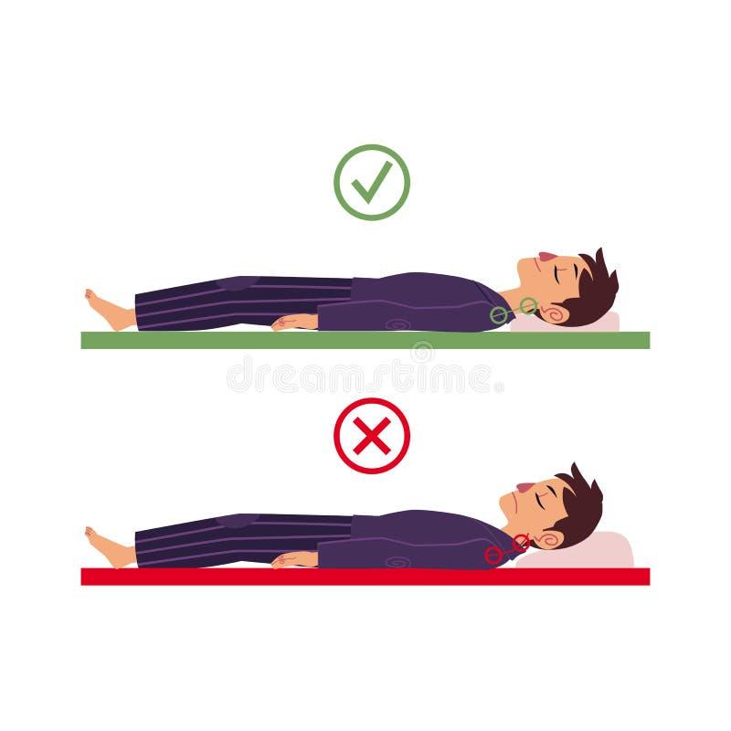 O vetor incorreto corrige a postura do homem para trás do sono ilustração do vetor