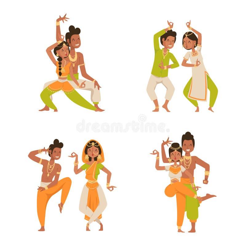 O vetor indiano da dança do homem da mulher isolou o filme do partido da mostra da dança da Índia dos povos dos ícones da silhuet ilustração royalty free