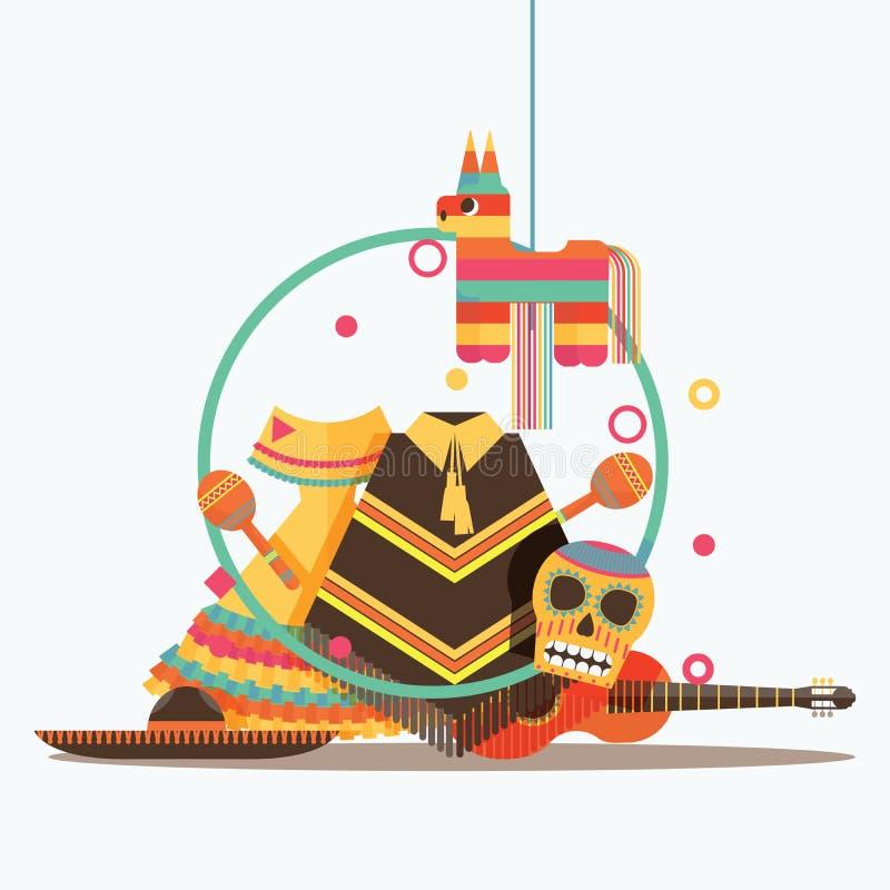 O vetor isolado na composição branca com bens mexicanos gosta do sombreiro, da guitarra, do pinata, do scull, do poncho e dos mar ilustração royalty free