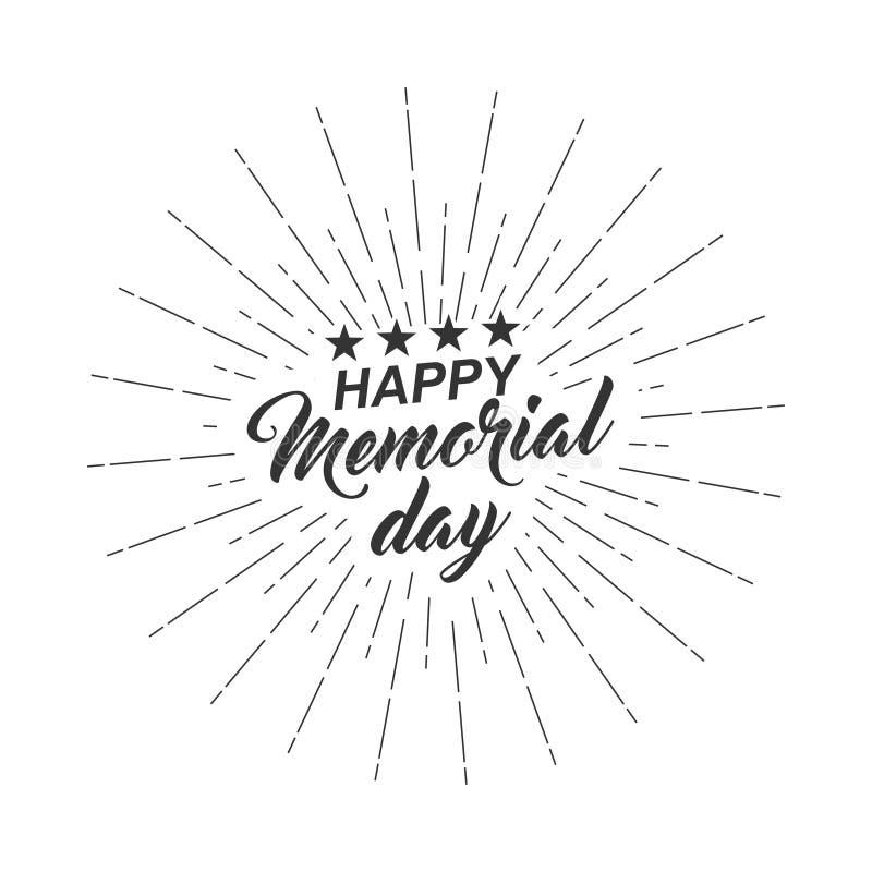 O vetor isolou o texto monocromático Memorial Day feliz para o cartão, inseto, cartaz com rotulação do texto, raios claros ilustração royalty free
