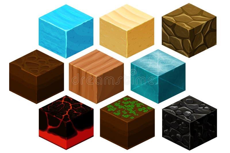 O vetor isométrico das texturas do cubo 3D ajustou-se para jogos de computador ilustração royalty free