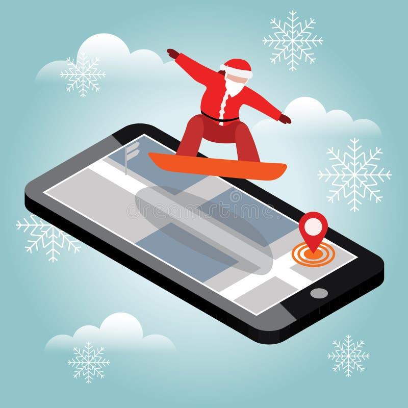 O vetor isométrico Santa Claus tem o embarque na cidade O Natal e o ano novo estão vindo Estilo urbano e truques quentes no parqu ilustração stock