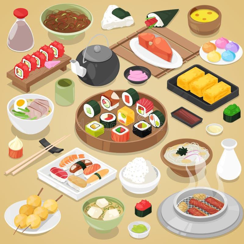O vetor japonês do alimento come o rolo do sashimi do sushi ou o nigiri e o marisco com arroz na ilustração do restaurante de Jap ilustração royalty free