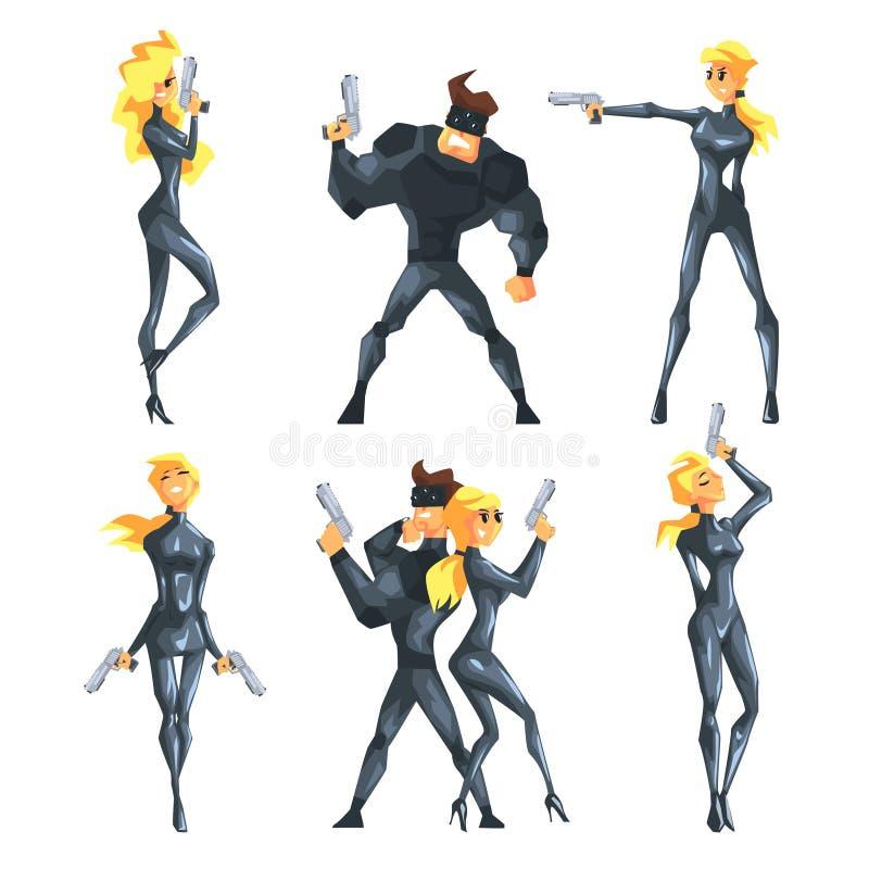 O vetor liso ajustou-se com os agentes secretos em poses diferentes com as armas nas mãos Menina loura 'sexy' e homem muscular co ilustração royalty free