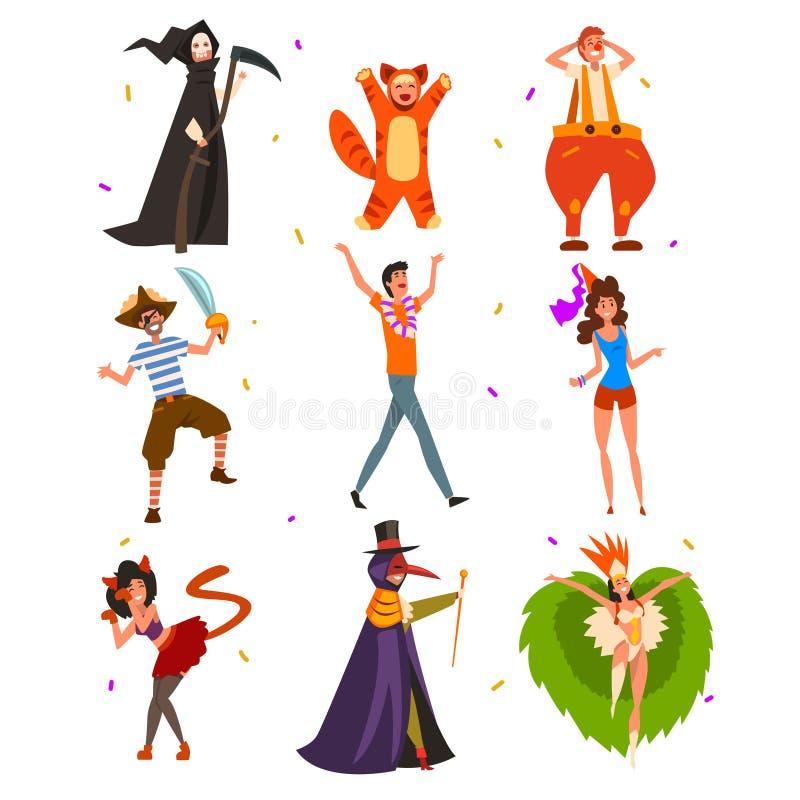 O vetor liso ajustou-se com os povos em trajes brilhantes do carnaval Personagem de banda desenhada dos homens, das mulheres e da ilustração stock