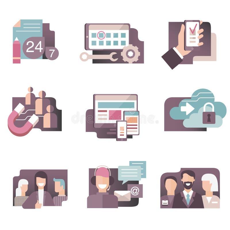 O vetor liso dos ícones do inclinação ajustou-se em cores à moda dos executivos, do desenvolvimento da Web, do centro de atendime ilustração do vetor