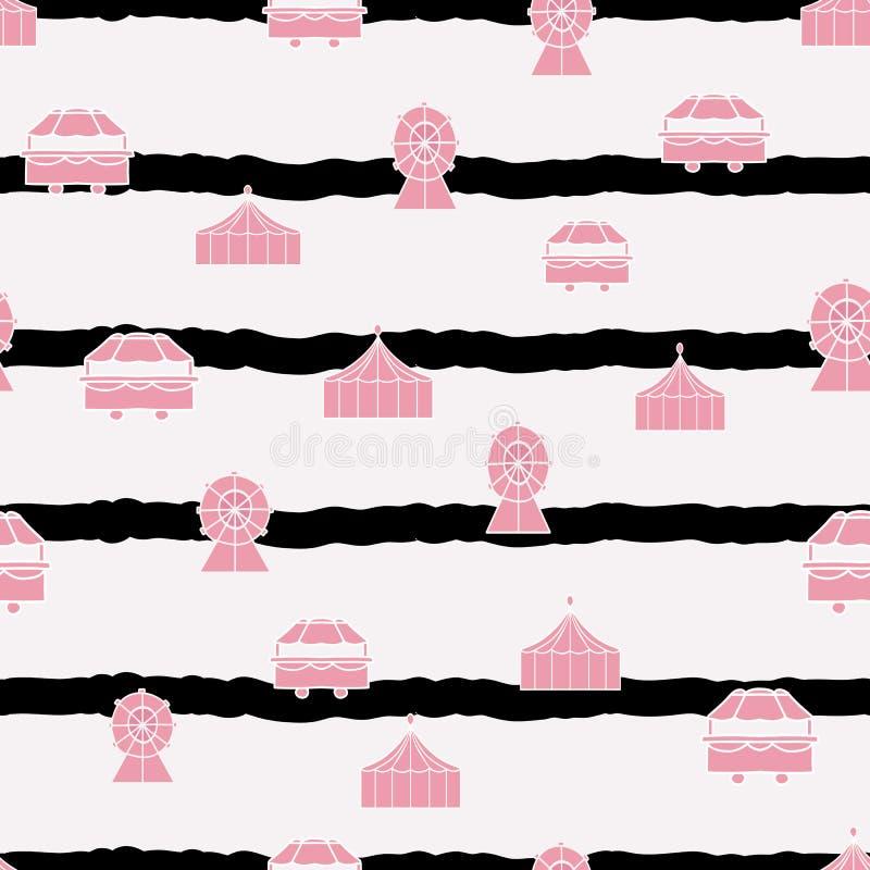 O vetor listra o teste padrão sem emenda cor-de-rosa pastel da repetição dos elementos do carnaval ilustração royalty free
